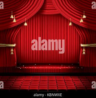 Red Stage Curtain with Seats and Copy Space. Vector illustration. Theater, Opera or Cinema Scene. Light on a Floor. - Stock Photo