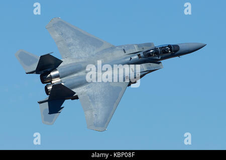 Close Up Photo Of A F-15, Strike Eagle, Jet Fighter, Climbing Out Of Rainbow Canyon, California, USA. - Stock Photo