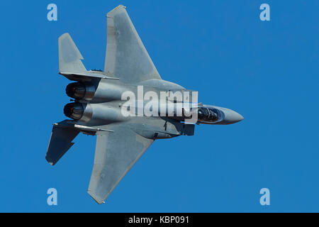Unmarked F-15SA, Eagle, Flying At High Speed And Low Level Through Rainbow Canyon, California, USA. - Stock Photo