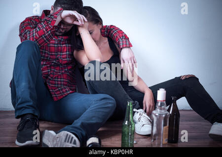 People in hangover after drinking too much - Stock Photo