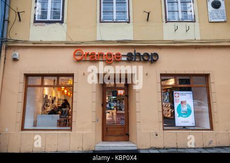 SIBIU, ROMANIA SEPTEMBER 22, 2017: Orange logo in an Orange Shop. Orange S.A., formerly France Telecom S.A., is - Stock Photo