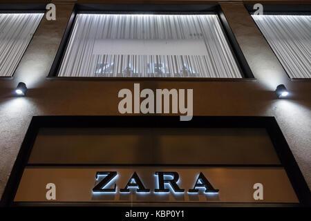 SIBIU, ROMANIA SEPTEMBER 22, 2017: Zara logo in front of a Zara store in the center of Sibiu, in Transylvania.  - Stock Photo