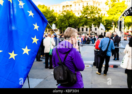 London, UK 13th september 2017. The 3millions organisation set up a rally in Trafalgar square London. - Stock Photo