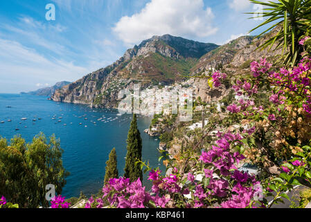 A scenic view of the  town of Positano on the Amalfi coast - Stock Photo