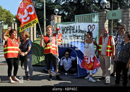On strike Employees of Psychiatric hospital protest against working conditions, Bron, France - Stock Photo