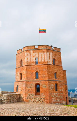 Tower of Gediminas (Gedimino)  with lithuanian flag on top. Symbol of Vilnius, Lithuania - Stock Photo