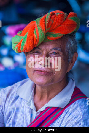 Portrait of Pao tribe woman in Shan state Myanmar - Stock Photo