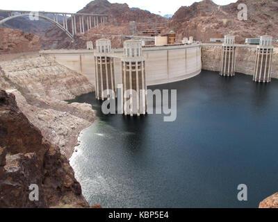 The Hoover Dam and Lake Mead, Arizona, Nevada Border - Stock Photo
