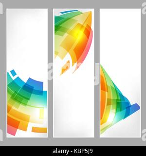 Set tech banners with abstract business symbol on white - Stock Photo