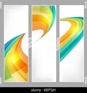 Tech banners set with business symbol on white background - Stock Photo