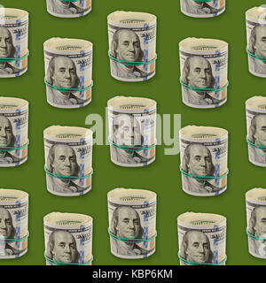 Seamless pattern with plenty rolls of One Hundred Dollar Bills on a green background. Abstract money background - Stock Photo