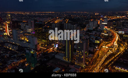 Light in the city , Light of Buildings and roads - Stock Photo