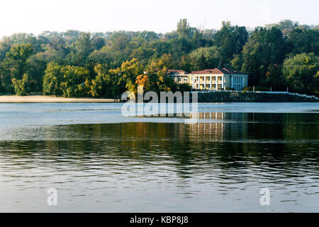 Big house on the banks of the Dnieper River - Stock Photo