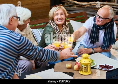 Group of smiling senior friends toasting with glasses of orange juice while celebrating momentous event at cozy - Stock Photo