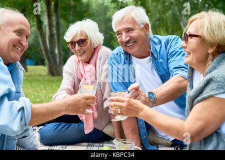 Two joyful senior couples toasting with glasses of orange juice while celebrating momentous event at green park - Stock Photo