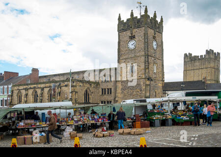 Saturday Market stalls in the Market Square Richmond North Yorkshire England UK - Stock Photo