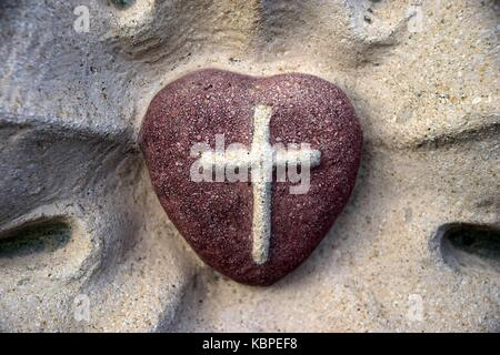 Christian Church And Heart As Love Symbol Religious Love Concept