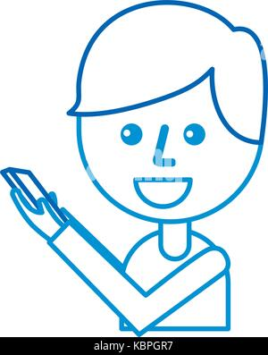 cartoon boy holding mobile phone device - Stock Photo