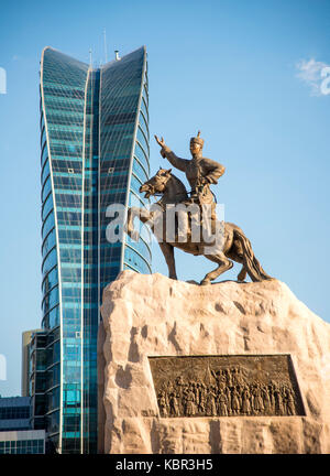 Statue of Damdin Sükhbaatar in Sükhbaatar Square, Ulan Bator, Mongolia - Stock Photo