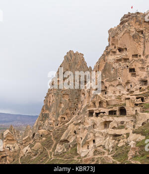 Medieval mountain fortress of Uchisar and the ancient cave city in Cappadocia, Turkey