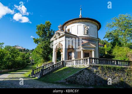 Sacro Monte of Varese (Santa Maria del Monte), Italy. Via Sacra that leads to medieval village, with the seventh - Stock Photo