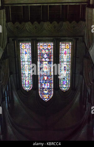 Salisbury Cathedral, reflections in the font - Stock Photo