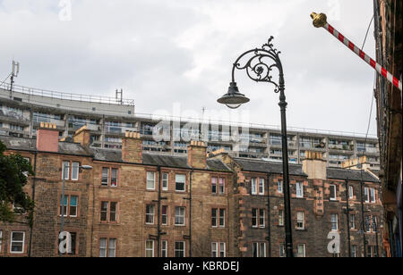 Juxtaposition of tenement building and 1960s council flats, Cables Wynd, named the Banana flats, Leith, Scotland, - Stock Photo