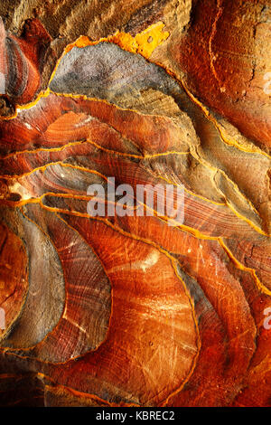 Colourful rock-formations in Petra, Wadi Musa, Jordan - Stock Photo