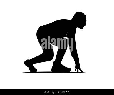 athlete start to run silhouette, person getting ready to run, silhouette design, isolated on white background. - Stock Photo