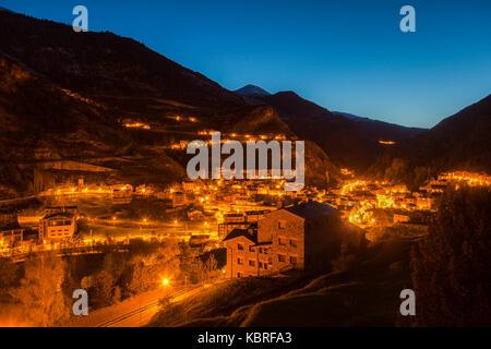 Panorama of Canillo at night. Canillo, Andorra. - Stock Photo
