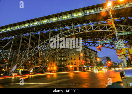 Elevated train tracks at the 125th Street Subway Station and Broadway in New York City. - Stock Photo