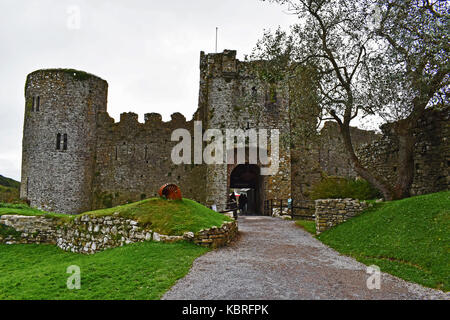 Manorbier Castle, Pembrokeshire - Stock Photo