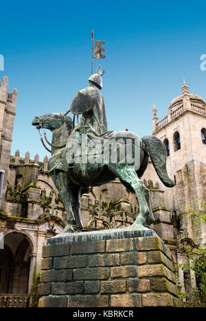 Statue of Vimara Peres, count of Portugal near cathedral of Porto. - Stock Photo
