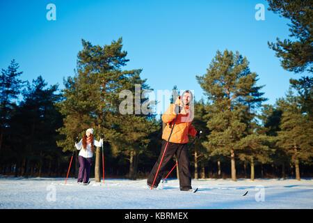 Skiing on weekend - Stock Photo