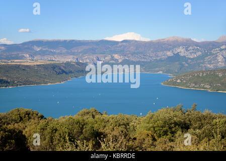View over Sainte-Croix Lake from Chapel at Baudinard-sur-Verdon Var Provence France - Stock Photo