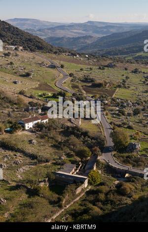 Grazalema, Spain: Highway through Sierra de Grazalema Natural Park. - Stock Photo