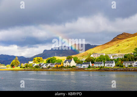 Dornie, Scotland, UK. 30th September, 2017. UK Weather: A rainbow over the small former fishing village of Dornie - Stock Photo