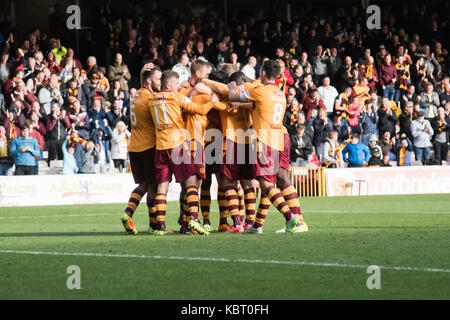 Motherwell vs partic thistle game at fir park on 30/0/2017 - Stock Photo