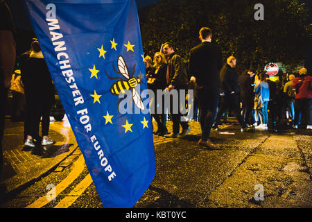 Stop Brexit march in Manchester before the 2017 Tory party conference, Manchester, UK. - Stock Photo