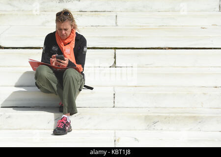 Washington, DC, USA. 30th Sep, 2017. A marcher rests during the March for Racial Justice from Lincoln Park to the - Stock Photo