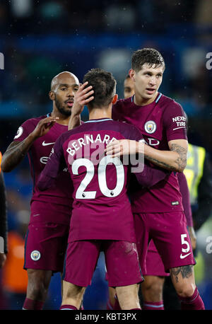 London, UK. 30th Sep, 2017. Players of Manchester City celebrates after winning the English Premier League match - Stock Photo