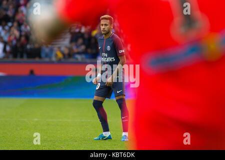 Neymar Jr. during the French Ligue 1 soccer match between Paris Saint Germain (PSG) and Bordeaux at Parc des Princes. The match was won 6-2 by Paris Saint Germain.