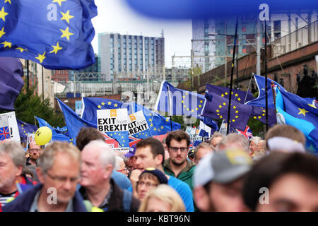 Stop Brexit march, Manchester city centre, Sunday 1st October 2017 - Large protest by thousands of Stop Brexit supporters - Stock Photo