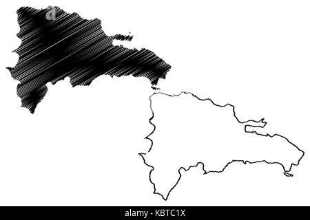 Dominican Republic map vector illustration, scribble sketch Dominican Republic - Stock Photo