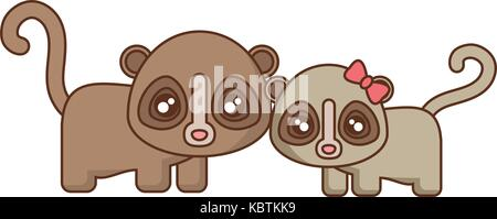 cute spectacled bears icon over white background vector illustration - Stock Photo
