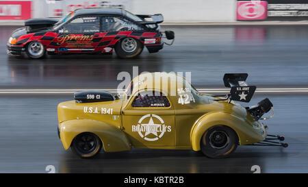 Drag racing 1/4 Mile Santa Pod - Stock Photo