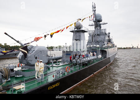 ST. PETERSBURG, RUSSIA - JULY 26, 2015: Small anti-submarine ship 'Kazanets' takes visitors on board on the day - Stock Photo