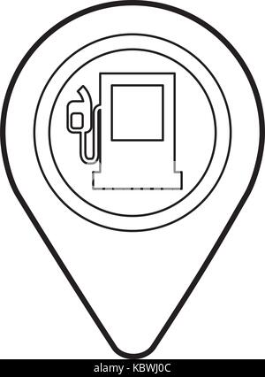 Map Pointer With Gas Station Symbol Pattern Seamless Black Stock