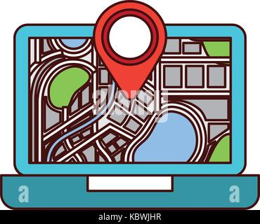 laptop application technology navigation pin map - Stock Photo