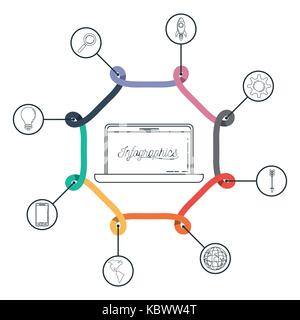infographic with central hexagon with laptop and icons around on him - Stock Photo